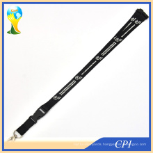 White Logo Black Polyester Lanyard with Oval Hook for Party